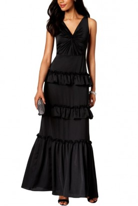 Adrianna Papell Black V Neck Tiered Dress Prom Gown