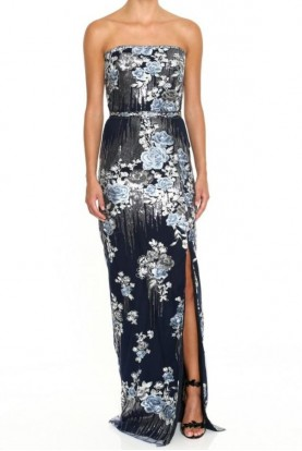 Marchesa Navy Strapless Sequin Embroidered Gown
