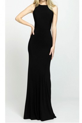 Madison James Black Alison Ruched Back Gown 19104