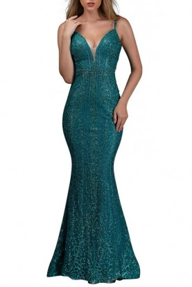 Nina Canacci Rheta Emerald Mermaid Green Gown 8190