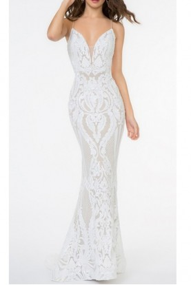 Val Stefani Ivory Sequin Sweep Gown 3680RG