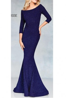 Clarisse Sweeping Sapphire Navy Gown 3853