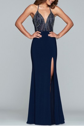 Faviana S10060 Navy Blue Beaded Top Elegant Evening Gown