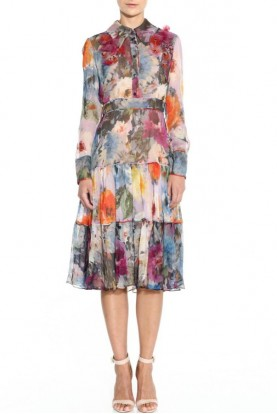 Marchesa Long Sleeve Floral Shirt Gardenia Dress
