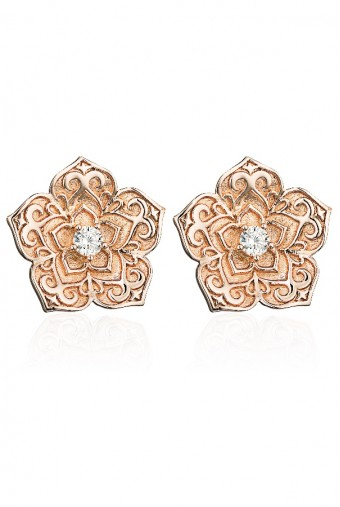 Sandugash Gallo Jewelry TAMILA Rose Gold Floral Stud Earrings