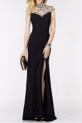 Alyce Paris 6538 Black Gown with Jeweled High Neck Collar
