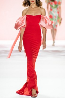 Badgley Mischka Couture Blouson Sleeve Red Gown