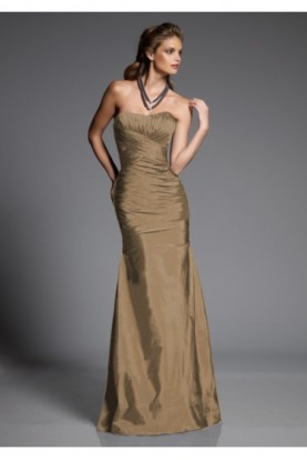 Angelina Faccenda Strapless Mermaid Gown Ruched Bodycon Formal Gala