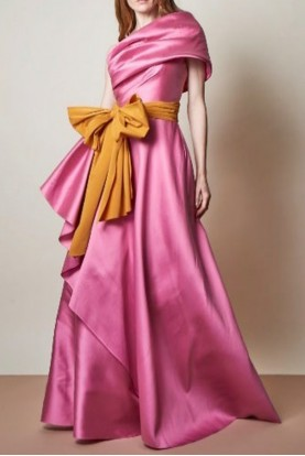 Sachin Babi Pink Roxi One Shoulder Mikado Gown
