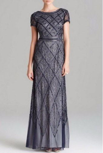 Adrianna Papell Beaded Diamond Pattern Scoop Back Sequin Gown