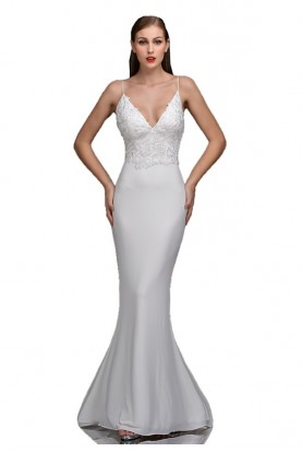 Nina Canacci White Shea Plunging Lace Gown 2275