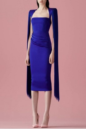 Alex Perry  Delany Ruched Fringe Overlay Midi Blue Dress