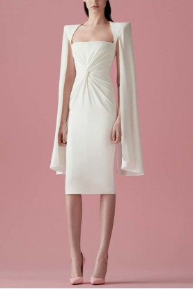 Alex Perry  White Walker Ruched Midi Dress