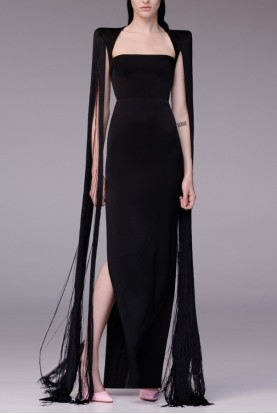 Alex Perry  Black Dallas Fringe-Accented Overlay Gown