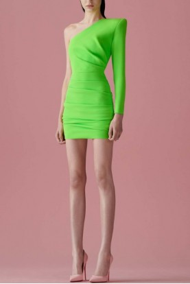 Alex Perry  Cameron One Shoulder Ruched Midi Dress