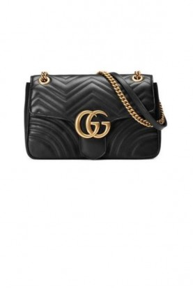 Gucci GG Marmont Black Leather Quilted Shoulder Bag