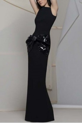 Isabel Sanchis Copy of Alviano Sleeveless Fitted Black Gown