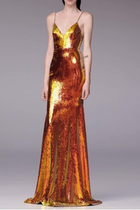 Alex Perry  Aldridge Sequin Embellished Gold Gown
