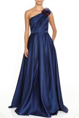 Marchesa One Shoulder Draped Satin Navy Gown