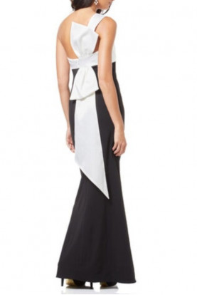 Adrianna Papell Bow Back  Black White Gown Column Mermaid Gala