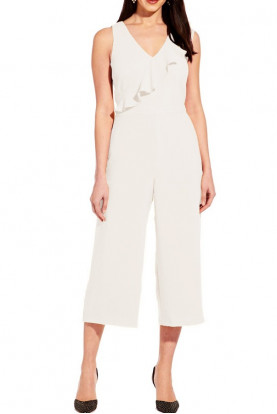Adrianna Papell Cropped Pant Ivory Jumpsuit Day to Dinner