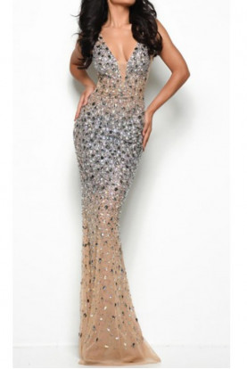 Jasz Couture 7077 FULLY BEADED JEWELED V NECK DRESS