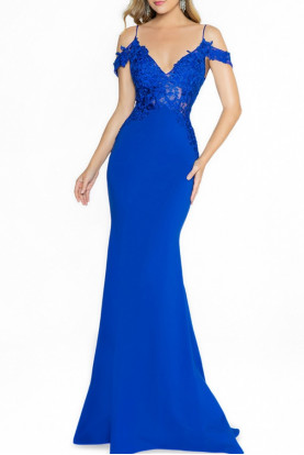 Val Stefani 3772RW Royal Blue Lace Gown