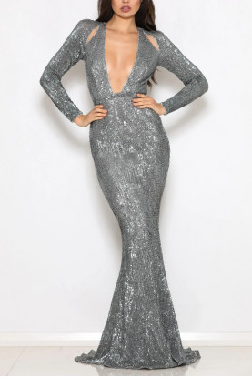 Abyss by Abby Salma Silver Sequin Deep V Neck Gown
