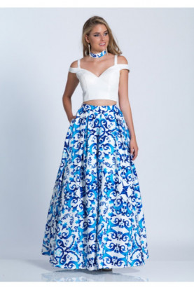 Dave and Johnny Two Piece Prom Blue White Floral Print Ball Gown