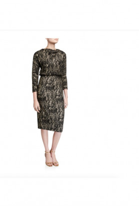 Badgley Mischka Foiled High Neck Sleeve Blouson Dress Black Gold