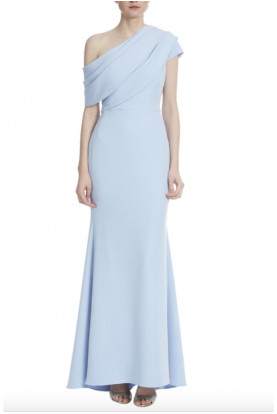 Badgley Mischka Couture Asymmetrical Winter Blue Long  Gown Formal