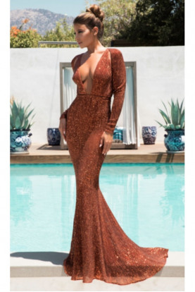 Abyss by Abby Salma Rust Sequin Deep V Neck Gown