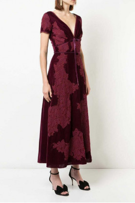 Marchesa Notte Velvet Lace Gown Midi Dress  Burgundy Plunge Neck