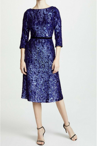Marchesa Sequins Tea Length Midi Dress Purple Blue