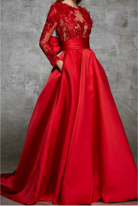 Marchesa Red Lace DUCHESS SATIN Back Bow Beaded Dress