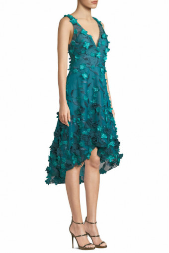 Marchesa Sleeveless High Low 3D Flower Midi Dress Teal