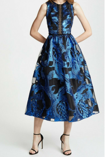 Marchesa Metallic Fil Coupe MIDI Tea Dress Royal Blue
