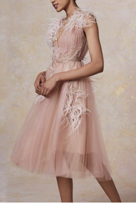 Marchesa Ostrich Feather Plunging Tulle Cocktail NUDE Dress