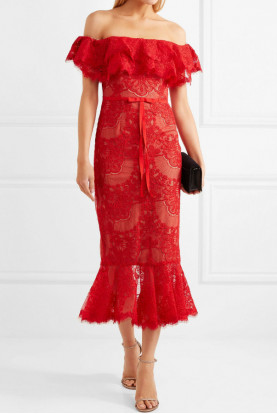 Marchesa Off the Shoulder Corded Lace Midi Dress Red