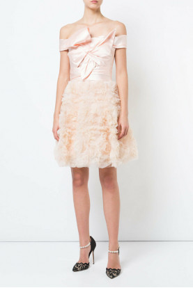 Marchesa Notte Pale Pink Off Shoulder Mikado Cocktail Dress Blush