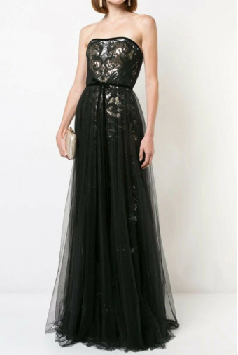 Marchesa Sequins Black Gold Tulle  Strapless Dress