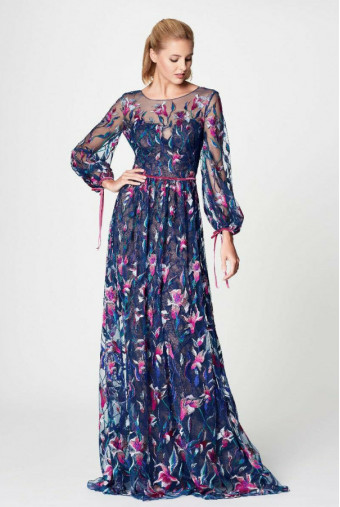 Marchesa Lace Embroidered Maxi Dress Blue Pink Goddess Gown