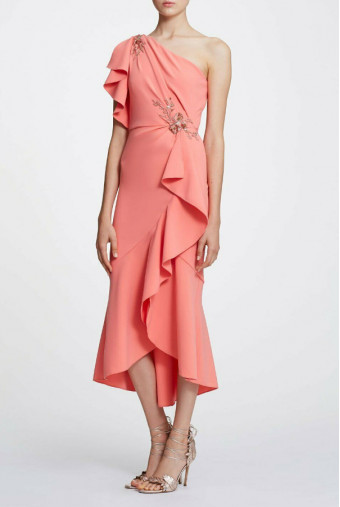 Marchesa Notte One Shoulder Ruffle Sleeve Beaded Coral MIDI Dress