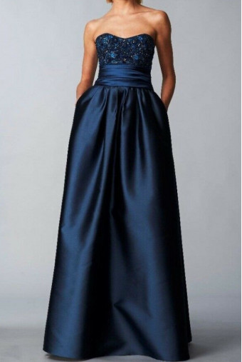 Marchesa Navy Blue Strapless Sequins Bodice Mikado Gown