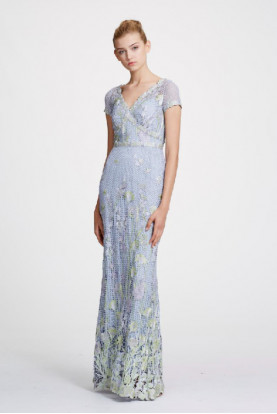 Marchesa Short Sleeve Guipure Lace Light Blue Dress