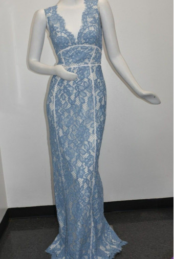 Marchesa Notte Lace Blue on White Maxi Dress
