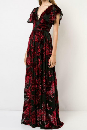 Marchesa Notte V Neck Velvet Burnout Lace Trim Black Red Dress