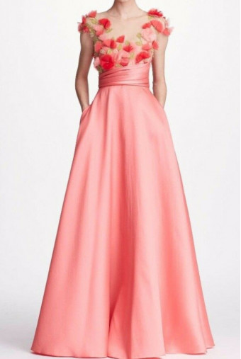 Marchesa Notte Pink Cap Sleeve Mikado Gown Dress 3D Flowers