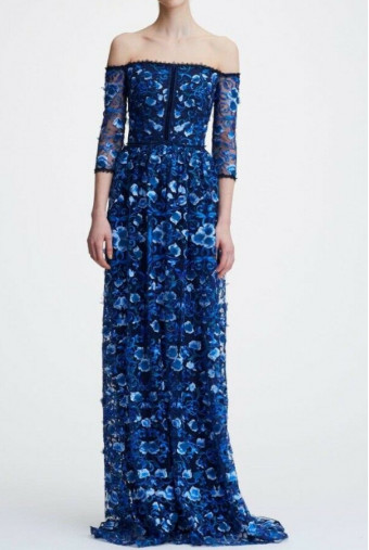 Marchesa Off the Shoulder Floral Embroidered  Navy Gown