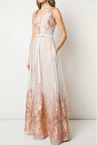 Marchesa Notte V Neck Metallic Fils Coupe Gown Blush Pink Dress